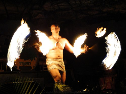 Drums of the Pacific Luau Fire Dancer at the Hyatt Maui