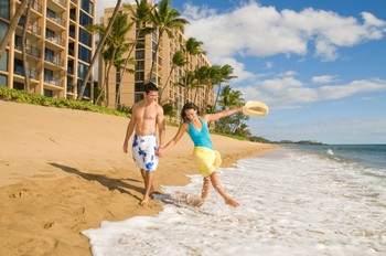 Picture of the beach in front of the Aston Mahana at Kaanapali Beach on Maui, Hawaii.