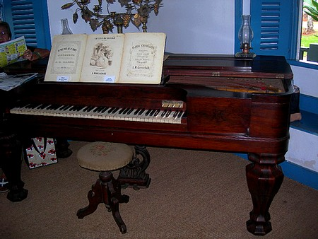 Picture of the piano in the Baldwin Home Museum on Front Street, Lahaina on the island of Maui, Hawaii.