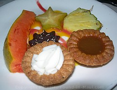 Picture of gourmet dessert at the Feast at Lele, one of the best Maui luaus.