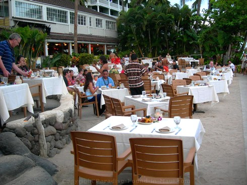 Picture of tables at the Feast at Lele, one of the best Maui luaus.