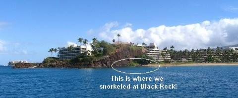 Picture of Black Rock, Maui and snorkeling off of Kaanapali Beach.