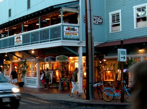 Picture shops on Front Street, Lahaina, Maui in the early evening.