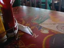 Picture of the tabletop at the Cheeseburger in Paradise, Maui, restaurant in Lahaina.
