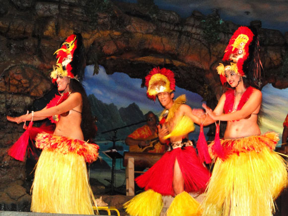 Hula dancer's at the Drums of the Pacific Luau