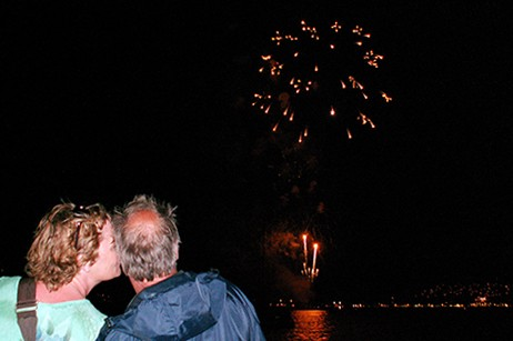 Pride of Maui fireworks on New Year's Eve Cruise