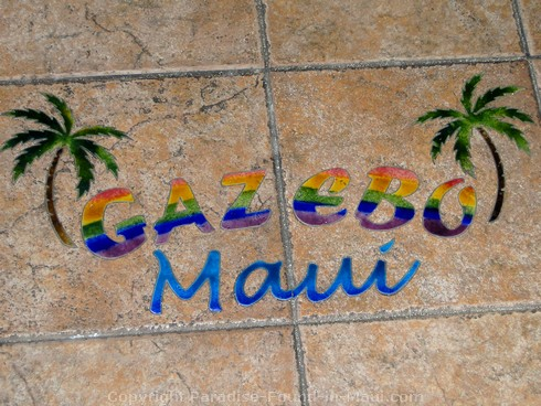 Picture of the welcome on the floor of the Gazebo Restaurant at the Napili Shores Resort, Maui.