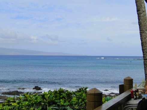 Picture of the ocean view from the Gazebo Restaurant at the Napili Shores Resort, Maui.