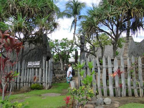 Hale Kahiko, replica Hawaiian villagin at the Old Lahaina Center