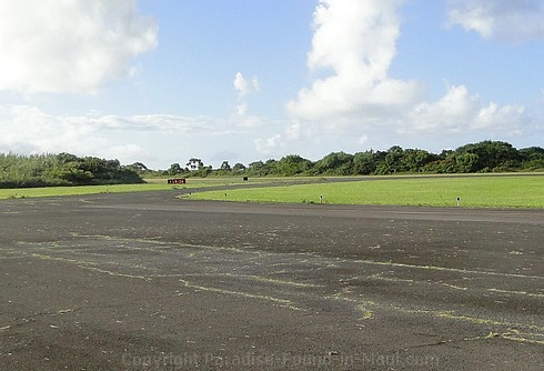 Picture of the runway at the Hana Airport on Maui, Hawaii.