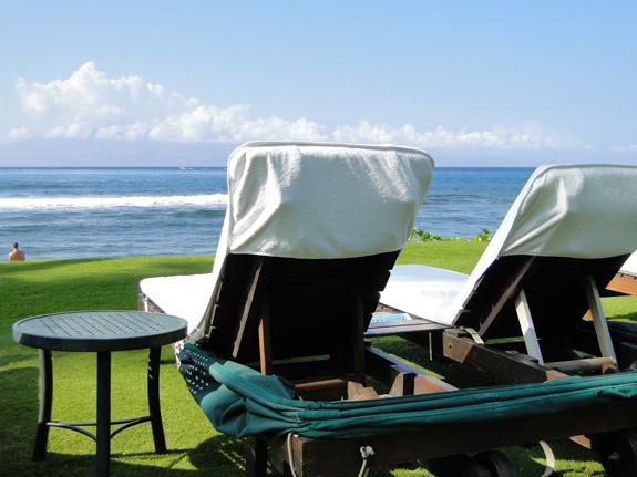 beach chairs on Kaanapali Beach at the Marriott in Maui