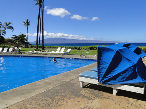 Beach cabanas for the Kaanapali Ocean Inn