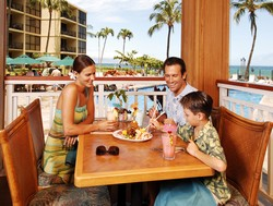 Picture of the Beach Club Restaurant and Bar at the Aston Kaanapali Shores condo rentals in Maui.