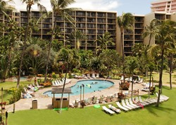 Picture of the garden swimming pool at the Aston Kaanapali Shores condo rentals in Maui.