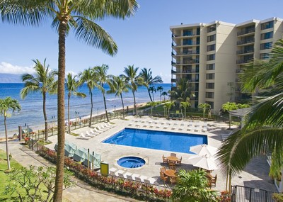 Picture of the ocean front pool at the Aston Kaanapali Shores condo rentals in Maui.