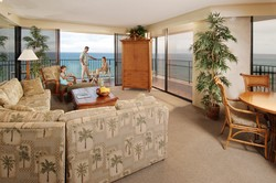 Picture of living room overlooking ocean at the Aston Kaanapali Shores condo rentals in Maui.