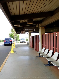 Picture of chairs outside the West Maui Kapalua Airport Terminal building on the island of Maui, Hawaii.