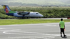 Picture of Island Air plane landing at West Maui Kapalua Airport on the island of Maui, Hawaii.