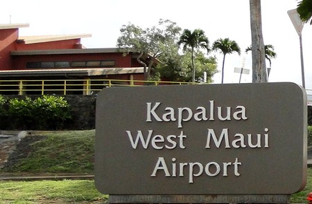 Picture of the West Maui Kapalua Airport Sign on the island of Maui, Hawaii.