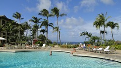 Picture of the ocean view at the pool of the Ritz Carlton in Kapalua, Maui, Hawaii.