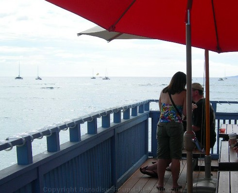 Picture of ocean view from the patio at Ono Gelato in Lahaina, Maui.