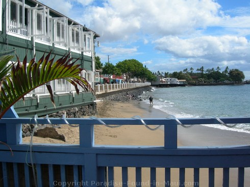 View from patio at Ono Gelato, Front Street, Lahaina, Maui, Hawaii.