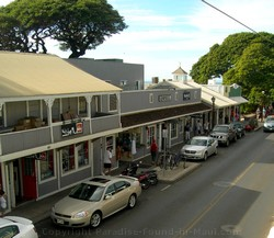 Picture of parking on Front Street below Mose McGillycuddys Lahaina restaurant on Maui, Hawaii.
