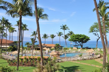 Picture of the oceanfront swimming pool at the Aston Maui Kaanapali Villas on Maui, Hawaii.