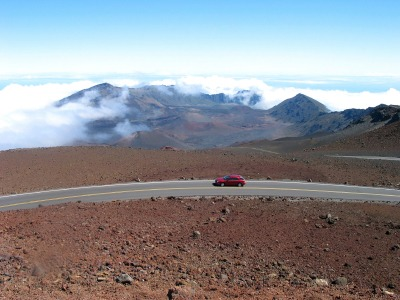Car rental in Maui driving to the Haleakala summit along Crater Road.
