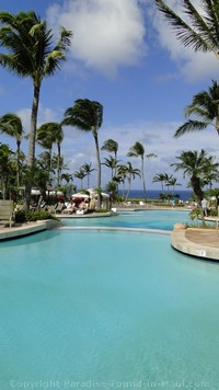 Picture of the swimming pool's ocean view at the Ritz Carlton Kapalua Maui.