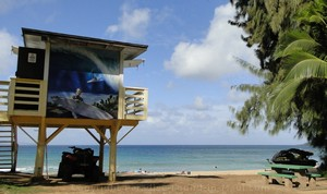 Picture of lifeguard hut at D. T. Fleming Beach Park in Kapalua, Maui, Hawaii.