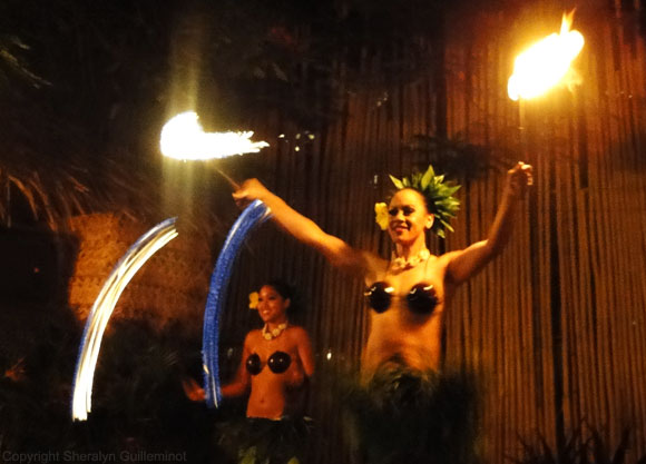 Female fire dancers at Royal Lahaina's Luau on Maui.