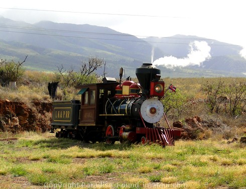 Picture of the Sugar Cane Train near Puukoli Station on Maui, Hawaii.
