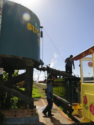Picture of the Sugar Cane Train getting a refill of water at Kaanapali Station, Maui, Hawaii.
