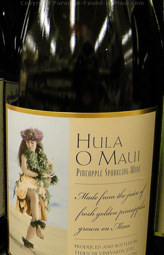 Picture of Hula O Maui wine bottle.