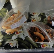 Picture of fabulous coconut candy at Nahiku Marketplace along the road to Hana on the island of Maui, Hawaii.