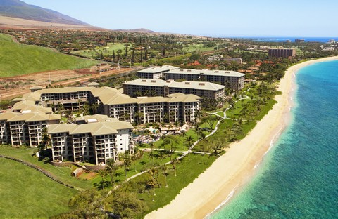 Aerial view of the Westin Kaanapali Ocean Resort Villas on Maui, Hawaii.