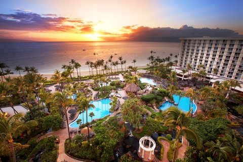 Aerial picture of the Westin Maui Resort and Spa at sunset.