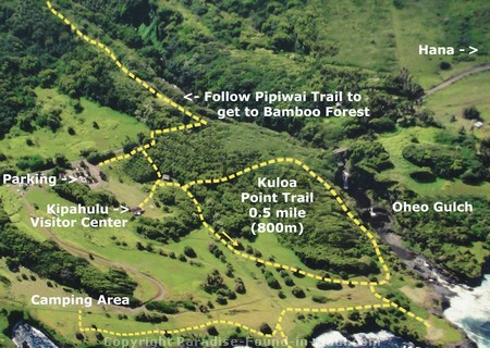 Aerial map showing Pipiwai Trail and Oheo Gulch