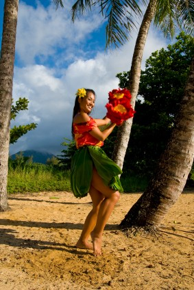 picture of woman dancing the hula on a beach in Hawaii