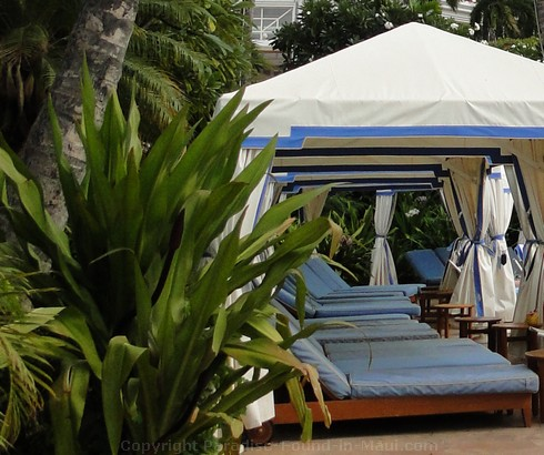 Picture of the poolside cabanas at the Grand Wailea Hotel.