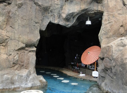 Picture of the swim-up Grotto Bar and Restaurant in Maui, Hawaii.