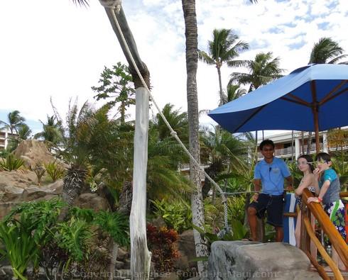 Picture of the tarzan swing at the Grand Wailea Resort in Maui,.Hawaii.