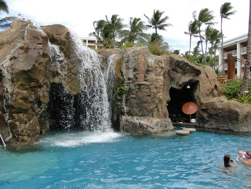 Picture of waterfall and grotto bar at the Grand Wailea Hotel pool in Maui, Hawaii