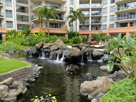 Tropical landscaping at the Honua Kai Resort at Maui, Hawaii