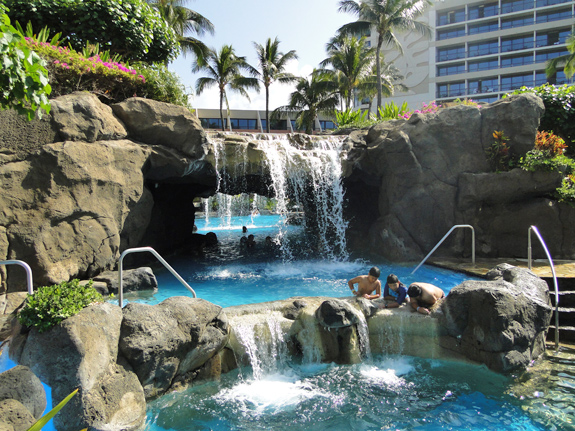 waterfalls in the swimming pool