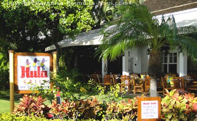 Picture of the exterior of the Hula Grill, Maui in Whaler's Village on Kaanapali Beach.