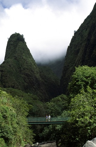 Picture of bridge in Iao Valley State Park, Maui, botanical gardens overlooking Iao Needle.