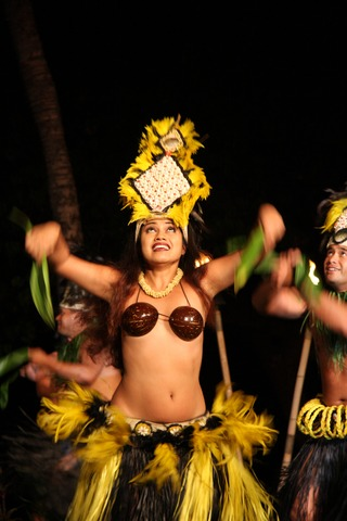 Picture of a hula dancer from the Old Lahaina Luau in maui.