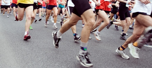 picture of runners feet at a marathon
